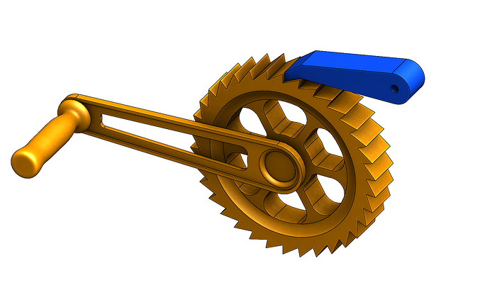 3D CAD Rendering of a Ratchet Device in Solidworks by Creative Mechanisms