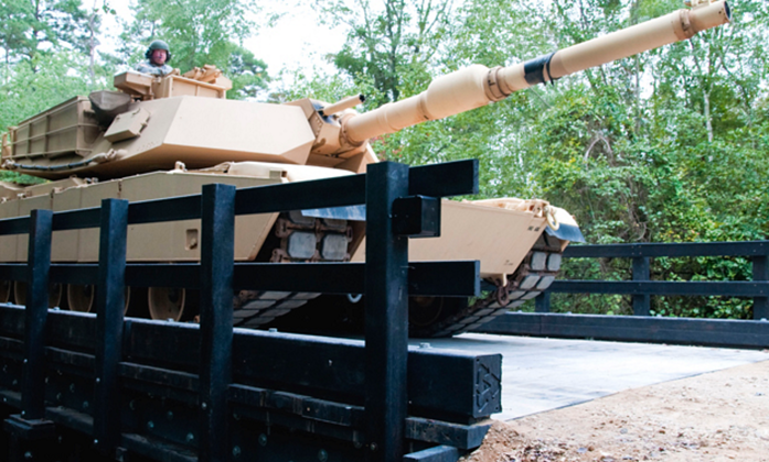 Tank Driving Over Composite Plastic Bridge