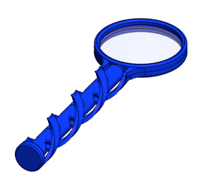 Solidworks CAD Image of Magnifying Glass Handle