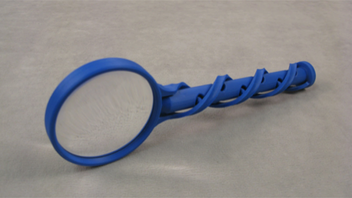 magnifying glass 3d printed from abs and cnc machined from acrylic