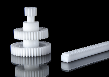 Gears and Rack Made From Low Friction Acetal Plastic