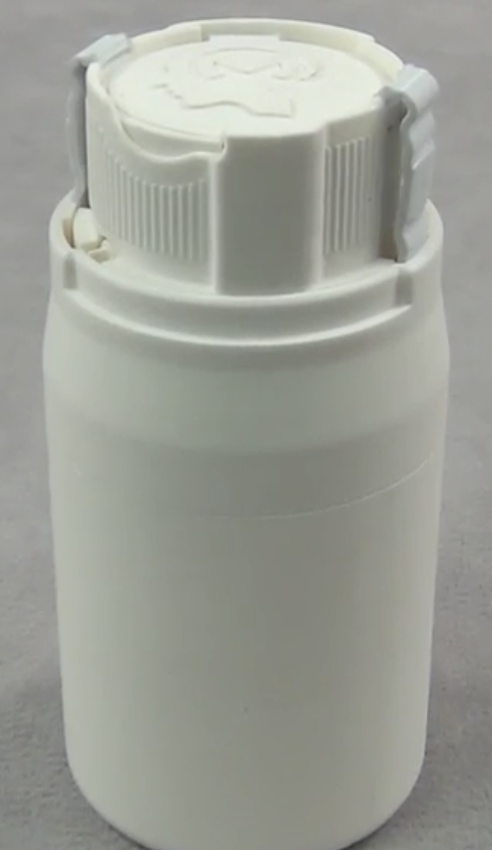 Six Piece Air Tight Child Safe Bottle with Living Hinge CNC Cut From PP Plastic
